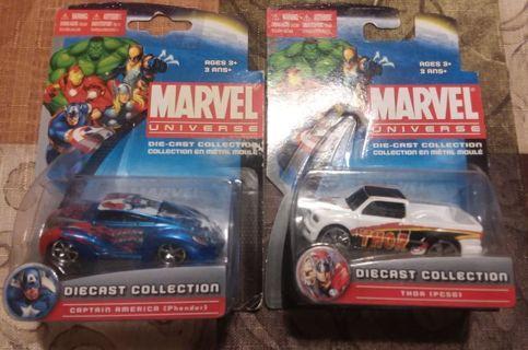 Lot of 2 Maisto Marvel Comics Diecast Cars Captain America & Mighty Thor