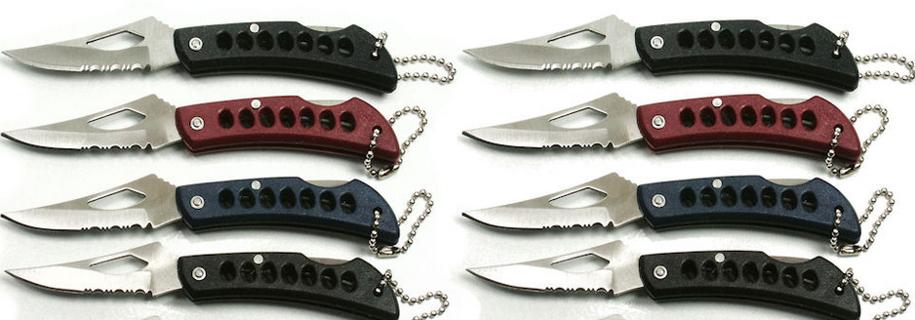 1 NEW Half-Serrated Key Chain Knife * RANDOM PICK*