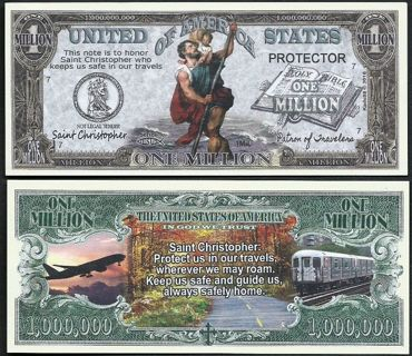 ✹ Saint Christopher Patron of Travelers Million Dollar Bill Collectible Million $ Bill - NEW