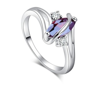 Silver-Color Ring Red Oval Cubic Zirconia Leaf Royal