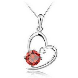 Red Crystal Rhinestone Heart Necklace