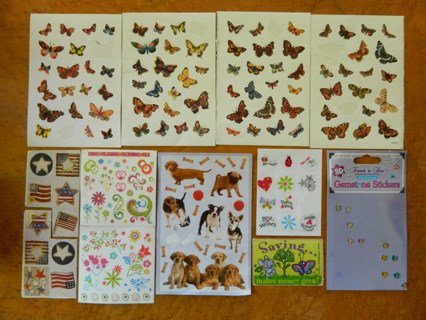 LOT of Stickers - Butterfly Flags Dog Flowers and More!!!  FREE Shipping