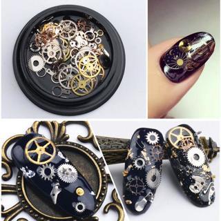 DIY 3D Time Steam Punk Style Gold Metal Studs DIY Decoration Nail Art Wheel