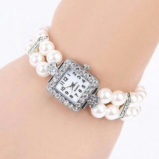 Metal Pearl Crystal Bracelet Bangle Stretch Square Dial Wristwatch Wrist Watch