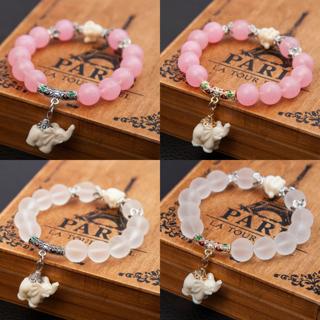 [GIN FOR FREE SHIPPING] Ethnic Matte Crystal Elephant Charm Bracelet Femmel Buddha