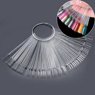 Best 50pcs Nail Polish UV Gel Display False Tips Fan Shaped with Loop Fake Nail Art Color Stickers