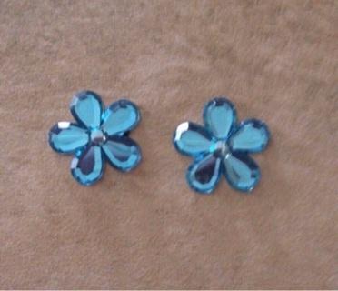 Blue flower flat backs