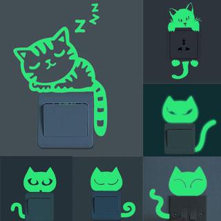 Glow In The Dark Luminous Cute Cat Kids Bedroom Wall Stickers Light Switch Decor