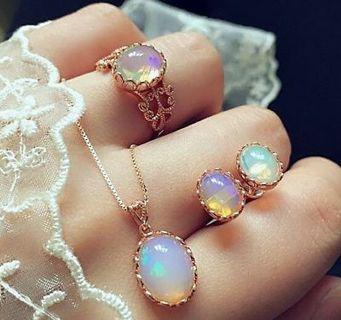Elegant Women Ring Earrings Necklace Jewelry SetParty Gems Jewelry Set