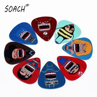 SOACH 10PCS 1.0mm high quality guitar picks two side Personality cartoon charactersn picks earrings