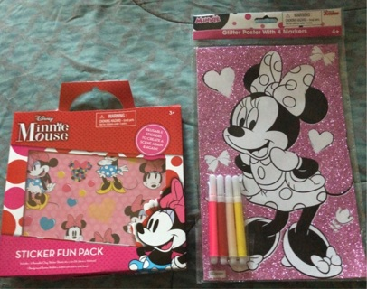 "BN ""Disney's: Minnie Mouse"" Toys! Reusable Sticker Pack AND MM Glitter Poster w/ 4 Markers"
