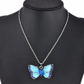 Colorful Butterfly Charms Pendant Necklace Women Fashion Jewelry Sweater Chain Necklaces & Pendants