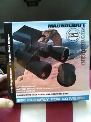 MAGNACRAFT 10-50 MAGNIfication BINOCULARS. Brand new..never opened.WITH NECK STRAP.& CARRYING CASE