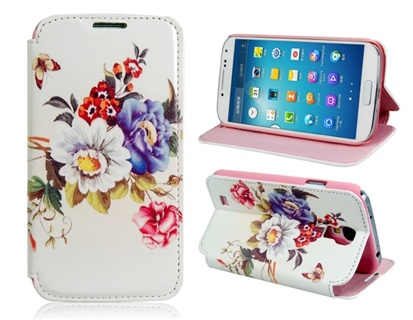 Faux Leather Flower & Butterfly Stand Protective Case for Samsung Galaxy S4/i9500