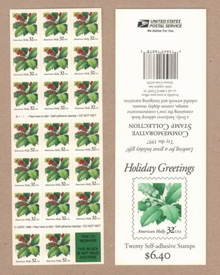 3177a 32¢ Holly Christmas. Plate B222 Mint pane of 20. 1997