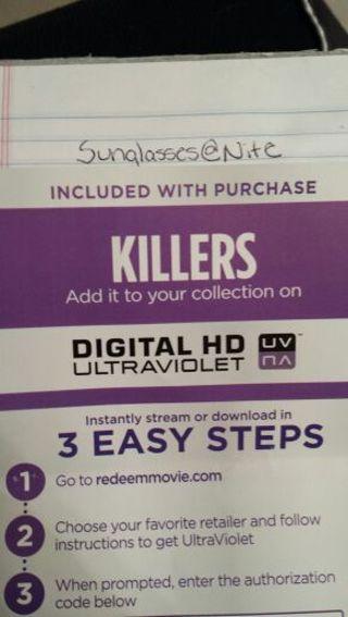 Killers UV HD Code ( Vudu )