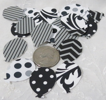 Black, White and Gray Cardstock Balloon Die Cuts 50