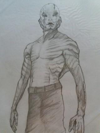 Abe sapien pencil drawing