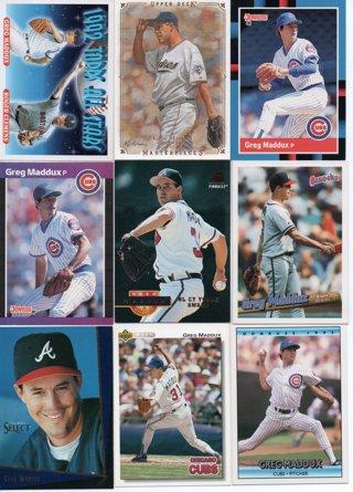 (9) Greg Maddux Baseball Cards