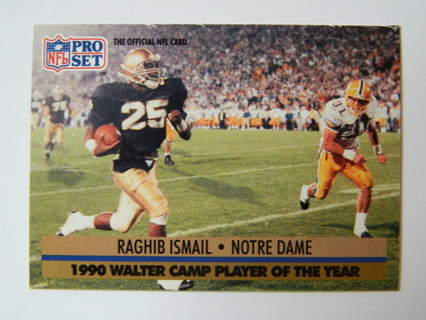 1991 PRO SET #36 - 1990 Walter Camp Player of the Year/ Raghib Ismail * Notre Dame ROOKIE RC Card **