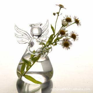 Glass Angel Shape Flower Plant Hanging Vase