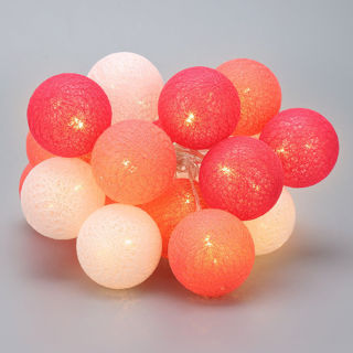 20 Cotton Candy LED Cotton Ball 7ft long - 1 string