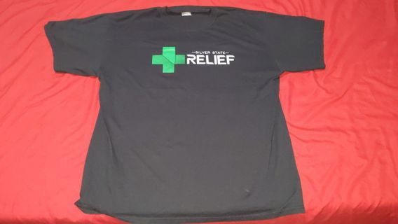 Size Large Silver State Relief Reno Nevada Marijuana Dispensary Tshirt