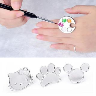 1pcs Sliver Polish Palette Cute Cat Cartoon Nail Tools New Manicure Set Ring Palette For Stainless