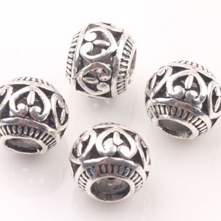 20Pc Tibetan Silver Big Hole Heart Carve Loose Spacer Beads Charms Craft 10mm