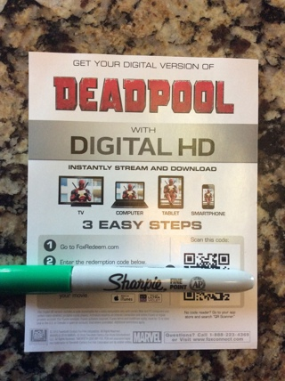 Deadpool uv code from blue ray