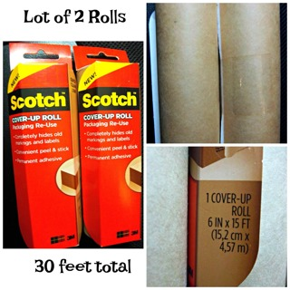 """NEW Scotch RU-CUR15 Packaging Cover-Up Roll Peel & Stick Brown 6"""" x 15' 2 Packs"""