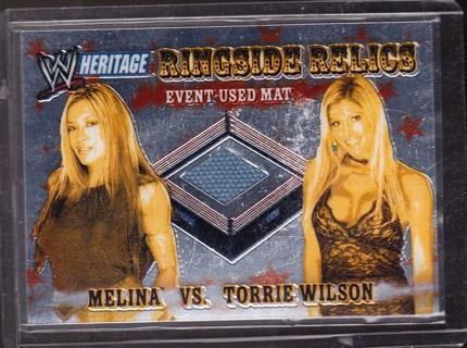 '06 topps heritage ,piece of wrestling mat relic card,melina vs. torrie wilson