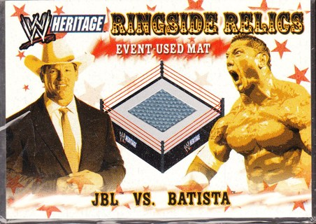'06 topps ringside relics,piece of mat card,JBL vs. Batista