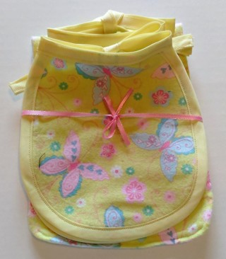 *Multi-Colored Butterfly & Flower Print Bibs/Burp Cloth - One of a kind, handmade!