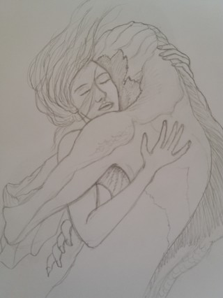 Shape of water pencil drawing