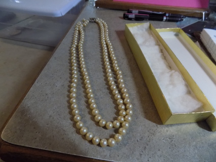 Vintage double strand real pearl necklace with fancy rhinestone closure catch