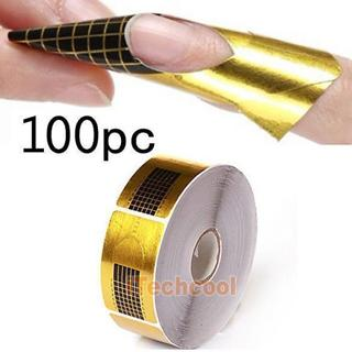 100x Gold Nail Extension Form Tip Sculpting Guide Stickers Salon Acrylic UV Gel