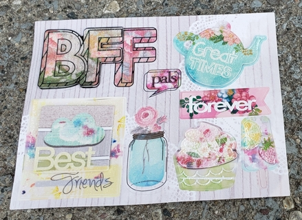 BFF GREAT TIMES BEST FRIENDS PALS FOREVER BESTIES GLITTER STICKERS 2 SHEETS