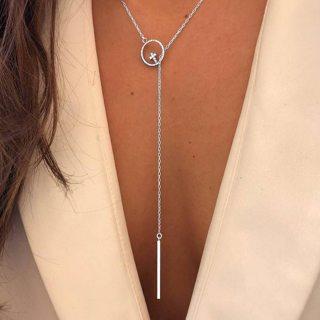 Bohemian Fashion Rhinestone Circle Cross Geometry Vertical Strip Tassel Silver Necklace Women Charm