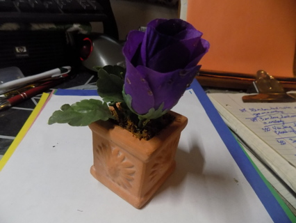 Terra Cotta Stoneware flower pot square with purple silk rose with dew on petals