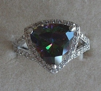 STUNNING STERLING SILVER SPARKLING RAINBOW & WHITE TOPAZ RING SZ 10 FREE US SHIP! FREE GIFT!
