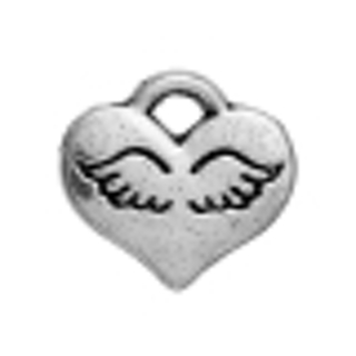Three Tiny Heart with Wings Charm / Pendant - 10mm
