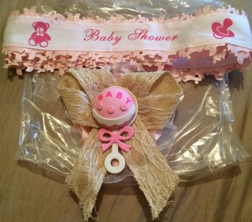 """Baby Shower Pin and Sash Pink ( Handmade )  """" make an offer """""""
