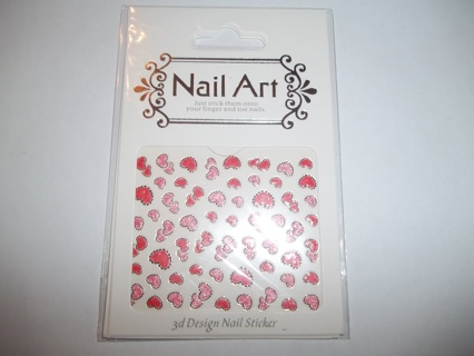 GRAMMY KAYE'S~ 3D Nail Decals/Stickers~ Hearts Outlined W/Black Stones ~1 Sheet!!