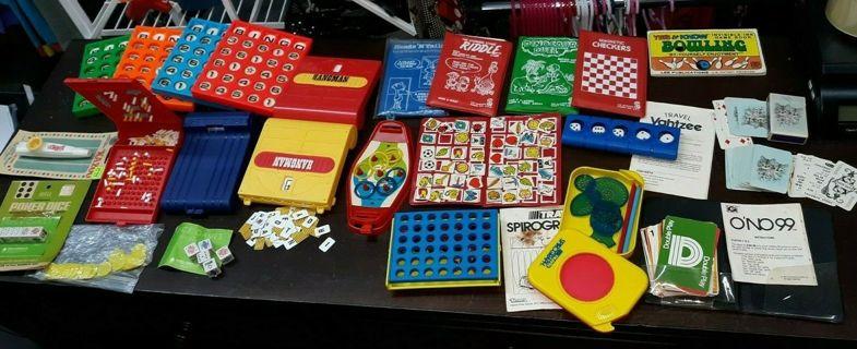 HUGE Lot of VINTAGE Games/Travel 70s 80s Bingo Hangman BUNDLE