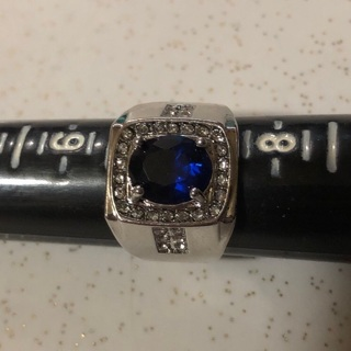 Men's Silver Tone Blue and Clear Crystal Ring, SZ 7. Excellent condition