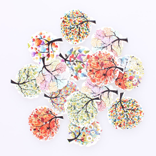 [GIN FOR FREE SHIPPING] 50Pcs Handmade Wood Sewing Buttons Tree Of Life