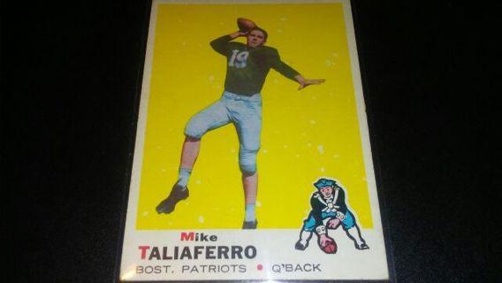 1969 TOPPS MIKE TALIAFERRO BOSTON PATRIOTS FOOTBALL CARD