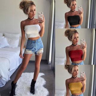 8840e75524 FREE  Women Off Shoulder Elastic Tube Crop Tops Blouse Strapless Bandeau  Casual Shirt