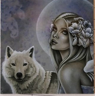 """Priestess with white wolf - 3 x 3"""" MAGNET"""